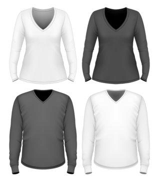 Women and men v-neck t-shirt long sleeve.
