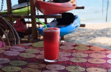 Watermelon shake on tropical beach