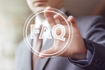 Wall Mural - Business button FAQ connection icon web