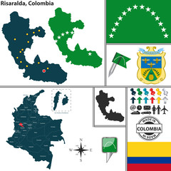 Map of Risaralda, Colombia
