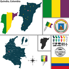 Map of Quindio, Colombia
