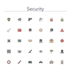 Security Colored Line Icons