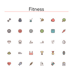 Fitness Colored Line Icons