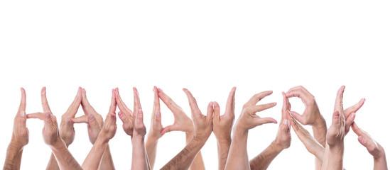 Das Wort Handwerk aus Händen geformt und freigestellt
