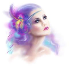 beautifu woman retro portrait fashion illustration