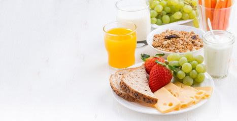healthy and nutritious breakfast with fresh fruits and vegetable