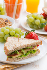 healthy school breakfast with fresh fruits and vegetables