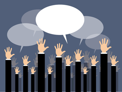 asta, mani alzate, uomini di affari, affari, dialogo