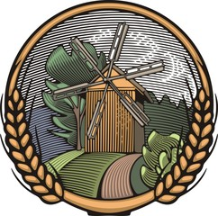Vector Windmill Illustration in Woodcut Style. Organic Farming.