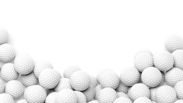 Golf balls pile with copy-space isolated on white background
