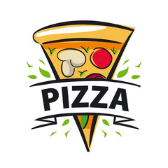 vector logo slice of pizza and ribbon
