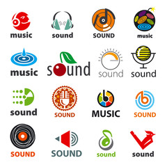 big set of vector logos sound and music