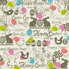 Background with bunny, easter eggs, flower, chicks, hen and gree