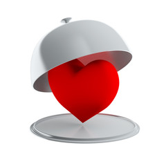 Red heart on silver platter (isolated)