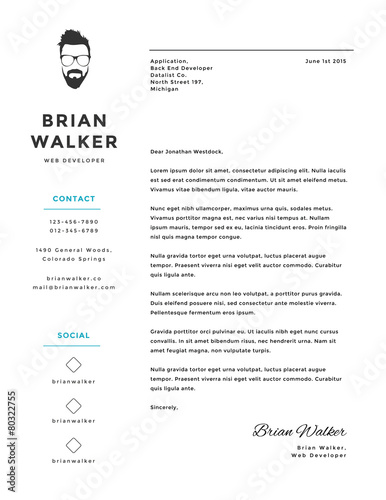 Creative and minimalistic personal vector cover letter template ...
