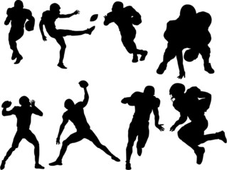 vector football players in silhouettes