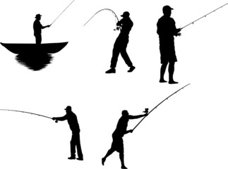The Set of Fishermen Silhouettes