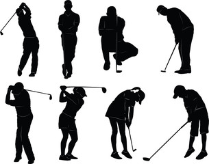 Vector silhouette of a man who plays golf
