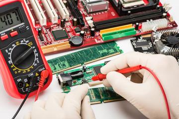 working on the circuit board