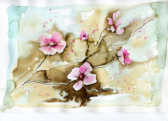 Self adhesive Wall Murals Painterly Inspiration pink flowers