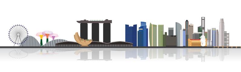 Illustration of Singapore city skyline view at Marina Bay
