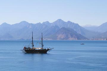 Mystic ship sailing in the sea around Antalya, Turkey