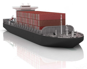 Cargo ship. 3D render Illustration.
