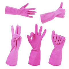 Pink gloves gestures, isolated on white