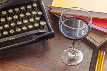 Vintage Typewriter Glass of Wine