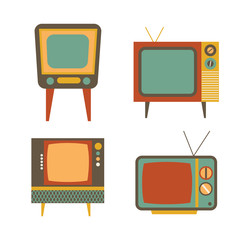 retro tv items set on white background