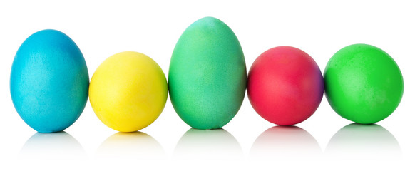colorful Easter eggs isolated on the white background