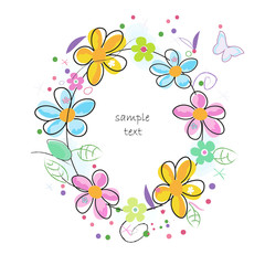 Colorful doodle spring flowers circle frame greeting card
