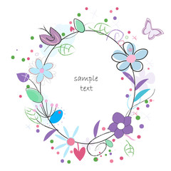 Floral abstract background vector greeting card