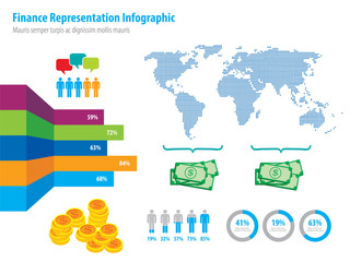 Financial infographic representation and world map