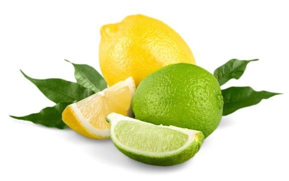 Lemon. collection of fresh limes and lemons - collage