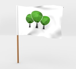 Trees symbol isolated windy flag on a brown mast 3d illustration