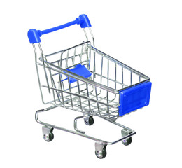 blue shopping cart isolated on white background