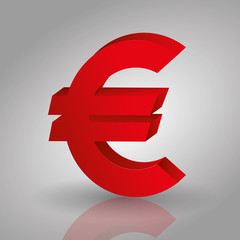 euro money sign symbol isolated red