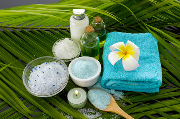Deurstickers Spa spa set on green palm