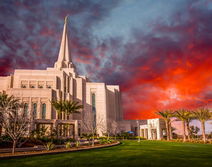Printed roller blinds Temple Mormon Temple in Gilbert Arizona