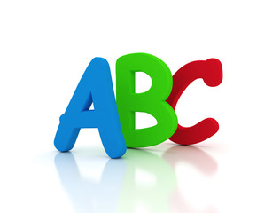A B C red green and blue 3d letters