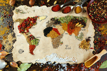 Photo sur Toile Herbe, epice Map of world made from different kinds of spices