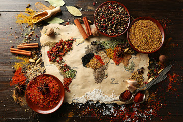 Foto auf Leinwand Gewürze Map of world made from different kinds of spices