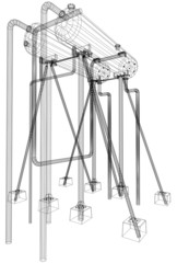 Wire-frame Oil and Gas industrial equipment. Tracing