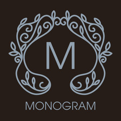 Luxury, simple  and elegant monochrome  Vector  abstract monogra