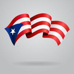 Puerto Rican waving Flag. Vector illustration