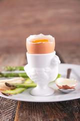 soft boiled egg and asparagus