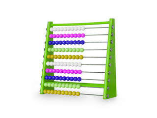 Old abacus on white