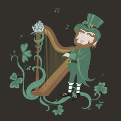 Leprechaun playing the harp and singing.