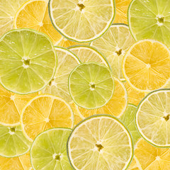 Lemon And Lime Slice Abstract Seamless Pattern